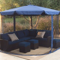 11-Ft Cantilever Crank Lift Patio Umbrella in Blue with Removable Netting