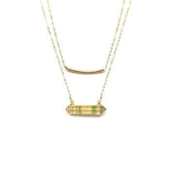 Fluorite & gold bar double strand necklace