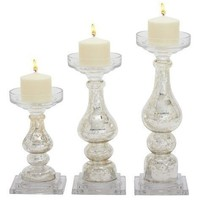 White Glass Candle Holder Set