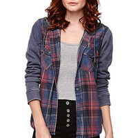 LA Hearts Hooded Plaid Burnout Shirt at PacSun.com