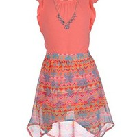 """One Step Up Big Girls' """"Tropical Pueblo"""" 3-Piece Outfit - coral, 7 - 8"""