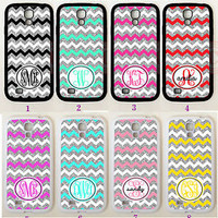 TEAL WHITE SILVER CHEVRON MONOGRAM Rubber Case For Samsung Galaxy S7 S6 Note 5 4
