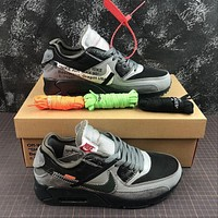 THE 10: OFF White x Nike Air Max 90 Black Grey Sport Running Shoes