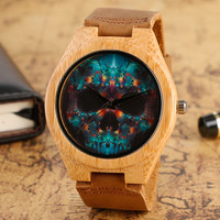 Wooden Watches Quartz Punk Skull Mens Watch Leather Strap Bamboo  Cool Modern Casual Sport Creative Nature Wood Male Clock Hour
