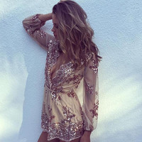 Limited Edition Fall Sequin Romper Rose Gold Bachelorette Party