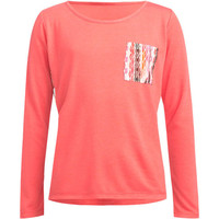Mimi Chica Chiffon Pocket Girls Tee Coral  In Sizes