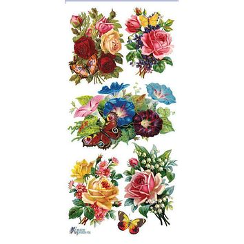 Butterfly Roses Victorian Floral 2 Sheets of Stickers