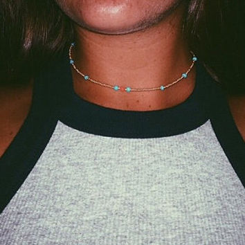 Gold and turquoise beaded choker