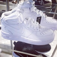 NIKE Air Force Trending Women Men Personaity Running Sport Shoes Sneakers High Tops And Low Help Shoes HIGH QUALITY Pure White I
