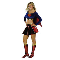 Sexy Halloween Costumes For Teens Girls Super Women Dress Super Girl Cosplay Clothing incl. Shirt Cape Skirt Belt Boot Tops