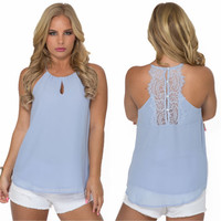 Mozart Blouse Tank In Periwinkle Blue