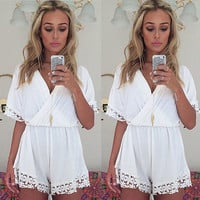 White Elastic Waist with Floral Lace Accent Romper