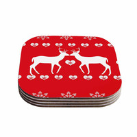"""Suzanne Carter """"Christmas Deer 2"""" Holiday Pattern Coasters (Set of 4)"""