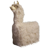 Llama Chair with Ceramic Face and Flokati Covered Body
