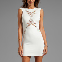 DRESS THE POPULATION Ivy Cap Sleeve Dress with Front and Back Crochet Detail in White