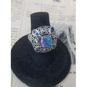 Stunning Blue fire opal tanzanite and citrine sterling silver cocktail ring size 6