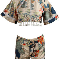 Two-piece Tassels Short Sleeve Playsuits