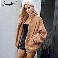 Faux lambswool Oversized jacket coat