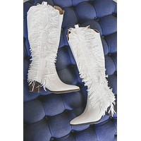 Just Fringe It White Boots