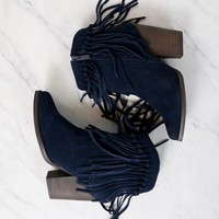 Final Sale - Very Volatile - Cupid Fringe Ankle Booties in Navy