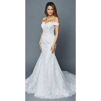 White Off-Shoulder Mermaid Style Wedding Gown