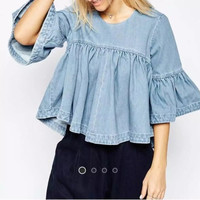 2016 Women Elegant Blue Denim Pleated Blouse Three Quarter Sleeve Ruffle Summer Casual Tops Loose Shirts