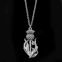 dongsheng Newest Outlander Scottish National Flower Pendant Necklace Scotland Thistle Necklace Wings Lovely Thistle Jewelry -30