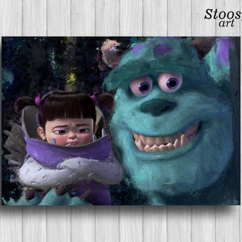 Boo and Sully poster monsters inc nursery decor kids print