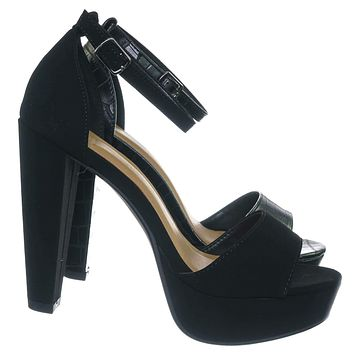 Libra Block High Platform Sandal - Women 2 Piece Open Toe Ankle Strap Shoes