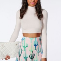 Missguided - Cactus Print Scuba A Line Skirt Pink