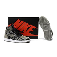 Air Jordan 1 Camo Black Gray Basketball Shoes Us7 12