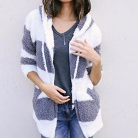 Women's Soft and Warm White/Gray Striped Fuzzy Knitted Hooded Sweater Jacket