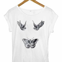 HARRY STYLES TATTOO T-SHIRT BIRDS BUTTERFLY ONE DIRECTION SIZES SMALL MED LRG