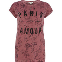 River Island Womens Red Paris city of love floral fitted t-shirt