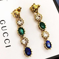 GUCCI Popular Women Colorful Diamond Tassel Pendant Earrings Jewelry Accessories