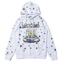 Moschino New fashion letter bear star print hooded long sleeve sweater top White