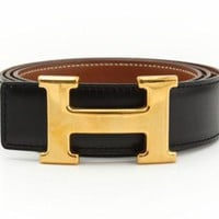 HERMES Constance H Buckle Belt Leather Brown Black Gold-tone Authentic
