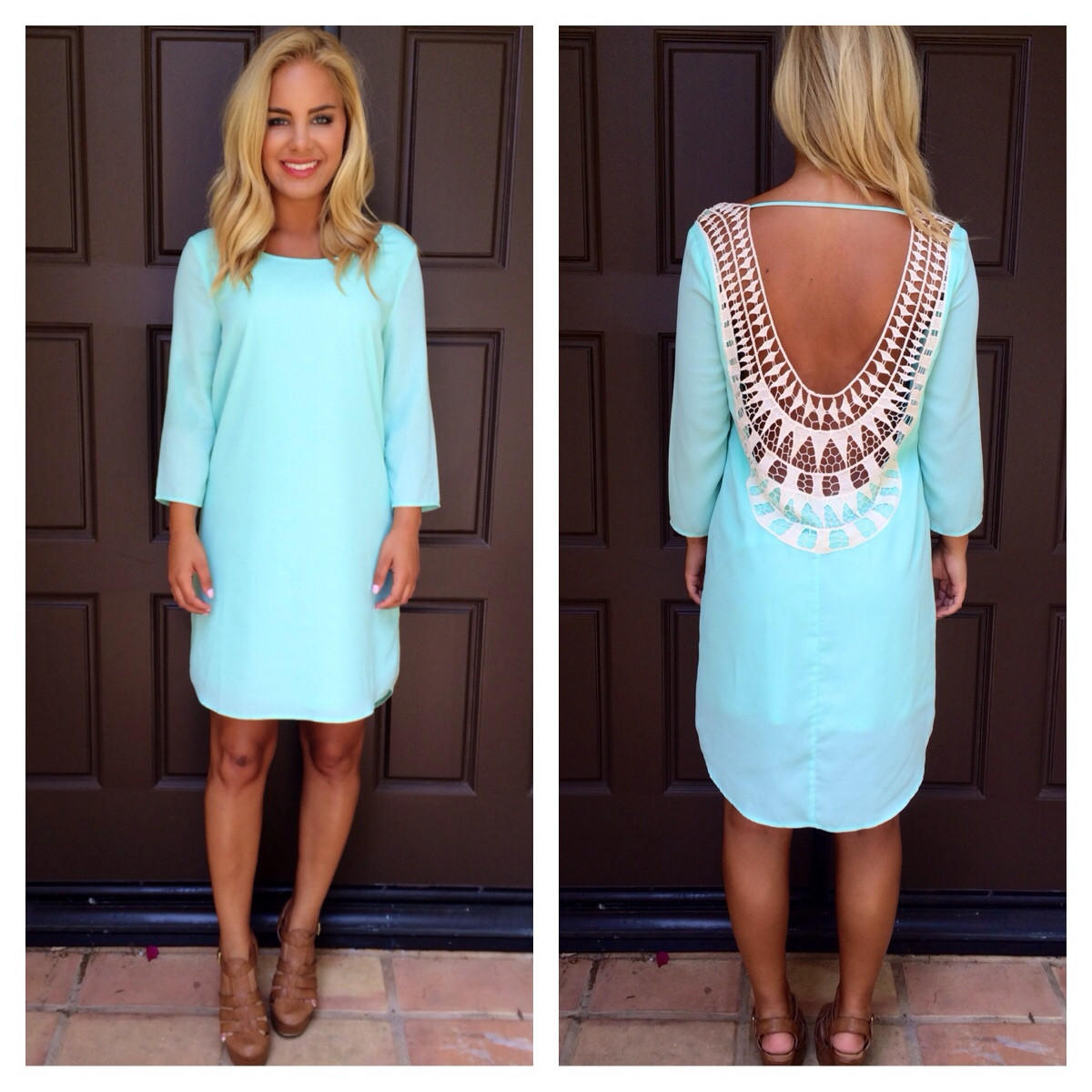 Image of Mint Embroidered Baby Got Back Dress