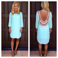 Mint Embroidered Baby Got Back Dress