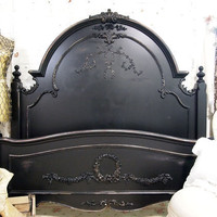 Painted Cottage Chic Shabby Black Romance Bed by paintedcottages