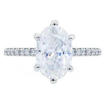 Skinny Oval Crushed Ice Moissanite 6 Prongs Diamond Accent Ice Solitaire Ring