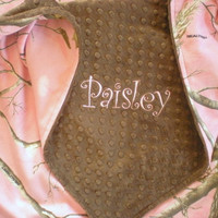 Baby Blanket - Pink Real Tree Camo and Minky Blanket - PERSONALIZED