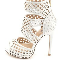 Laser Cut-Out Peep Toe Platform Heels by Charlotte Russe - White