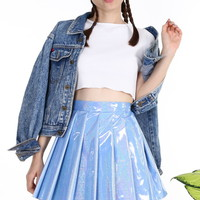 Glitters For Dinner — Made To Order - Blue Hologram Pleated Skirt by GFD