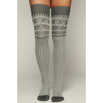 Festive Fun 3 Pack Thigh High Socks (Nordic Pattern)