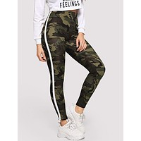 Striped Tape Side Camo Leggings