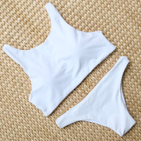 X-HERR Bikinis Women 2017 High Neck Crop Top Swimwear Solid Padded Bandeau Swimsuit Skimpy Panty Bathing Suits agent provocateur