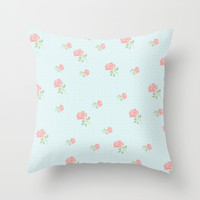 Pink Rose on Blue Polka Dot Throw Pillow by Kate