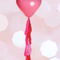 """Giant Heart Balloon with Tassel Geronimo Heart Balloon Custom Colors 36"""" Balloon with 5 Foot Fringe Wedding 