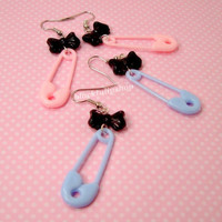 Fairy Kei Pastel Goth Dangle Earrings Light Pink Blue Safety Pin Black Bow - You Choose